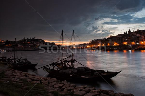 Stormy sera cielo sopra città Portogallo Foto d'archivio © rognar