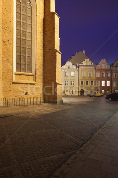 Oude binnenstad Warschau nacht Polen straat historisch Stockfoto © rognar