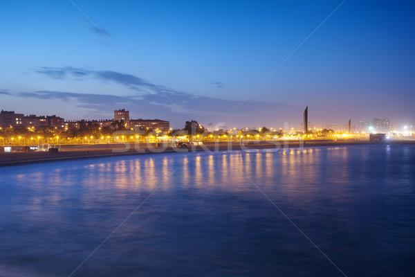 Barcelona vízpart alkonyat mediterrán tenger tengerpart Stock fotó © rognar