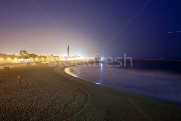 пляж Барселона ночь свечение ночному городу небе Сток-фото © rognar
