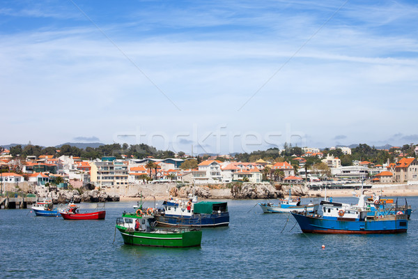 Vissen boten kustlijn Portugal huizen resort Stockfoto © rognar