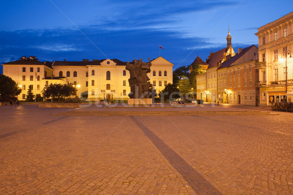 Stadhuis oude binnenstad nacht stad Polen huizen Stockfoto © rognar