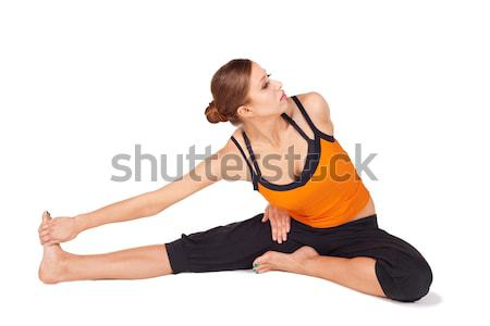 Woman doing Yoga Relaxing Exercise Stock photo © rognar