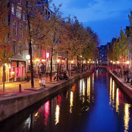 Piros lámpa kerület Amszterdam város centrum alkonyat Stock fotó © rognar