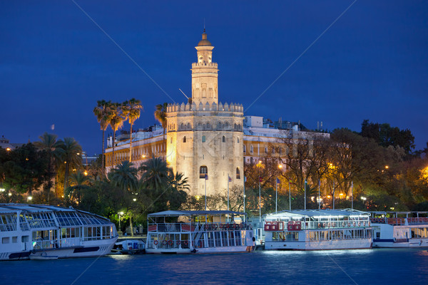 Gold Tower of Seville at Night Stock photo © rognar