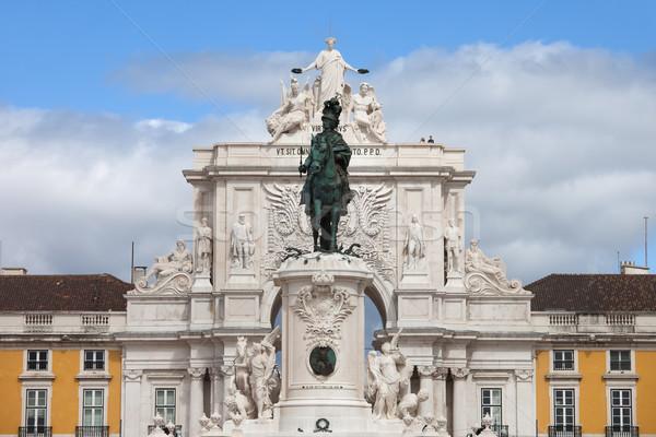 King Jose I Statue and Rua Augusta Arch in Lisbon Stock photo © rognar