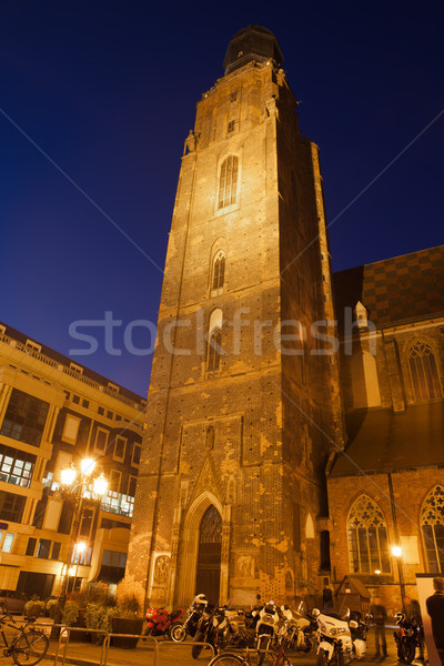 St. Elizabeth's Church Tower at Night in Wroclaw Stock photo © rognar