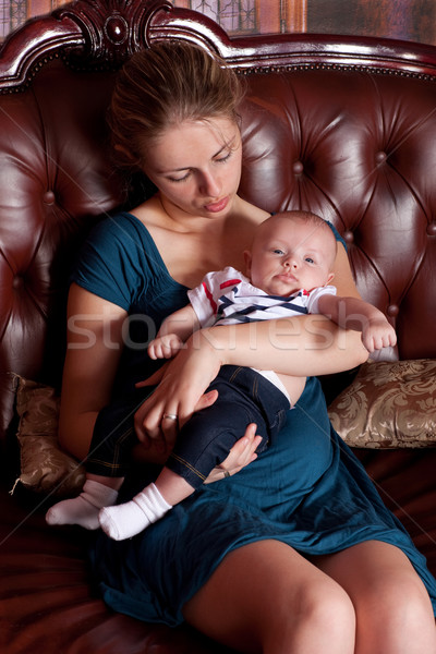 Mother with Her Baby on Sofa Stock photo © rognar