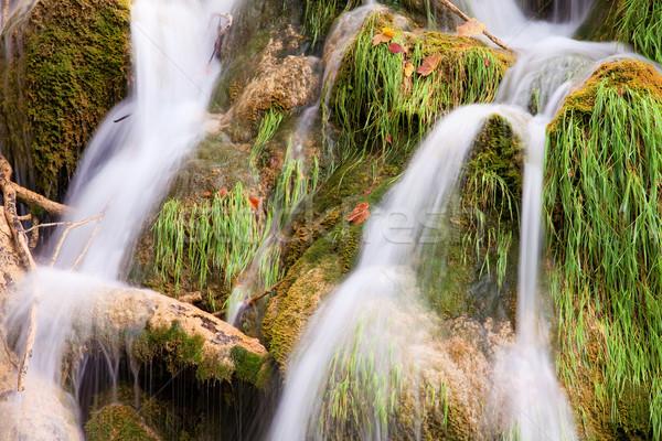 Wody kaskada sceniczny strumienia skał Zdjęcia stock © rognar