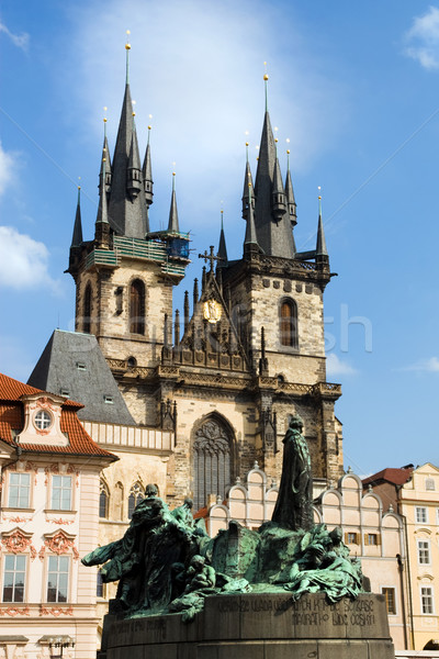 Church of Our Lady before Tyn and Jan Hus Statue Stock photo © rognar
