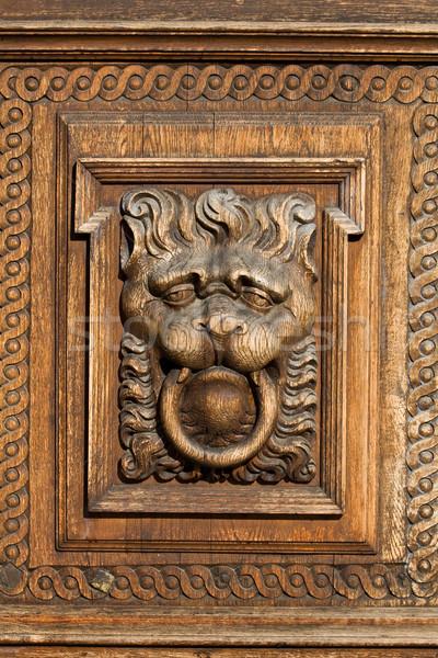 木製 救済 ライオン 木材 古い 中世 ストックフォト © rognar
