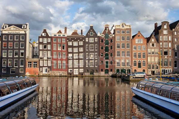 Stad Amsterdam zonsondergang Nederland nederlands stijl Stockfoto © rognar