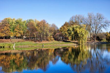 市 公園 池 ワルシャワ 風景 ストックフォト © rognar