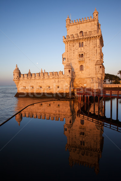 Belem Tower at Sunrise in Lisbon Stock photo © rognar