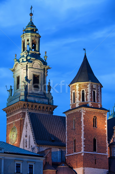 Towers of the Wawel Royal Cathedral in Krakow by Night Stock photo © rognar