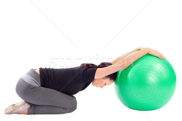 Stock photo: Woman Doing Gym Ball Exercise