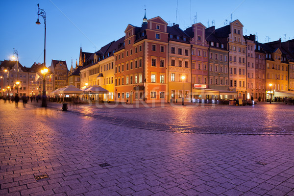 Wroclaw Old Town Market Square at Dusk Stock photo © rognar