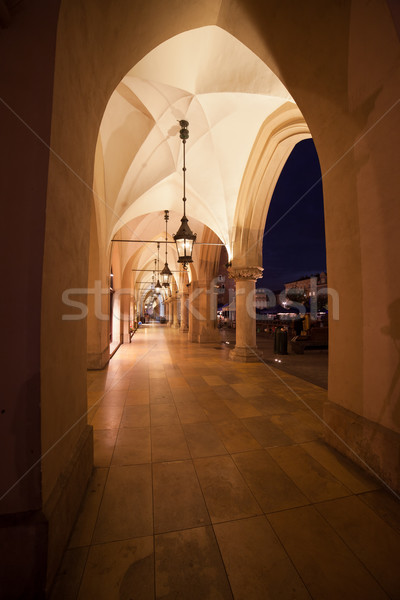 Sukiennice Colonnade at Night in Krakow Stock photo © rognar