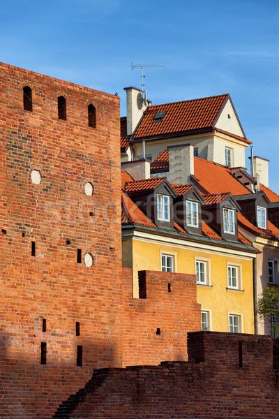 Oude binnenstad huizen muur Warschau muur Polen Stockfoto © rognar