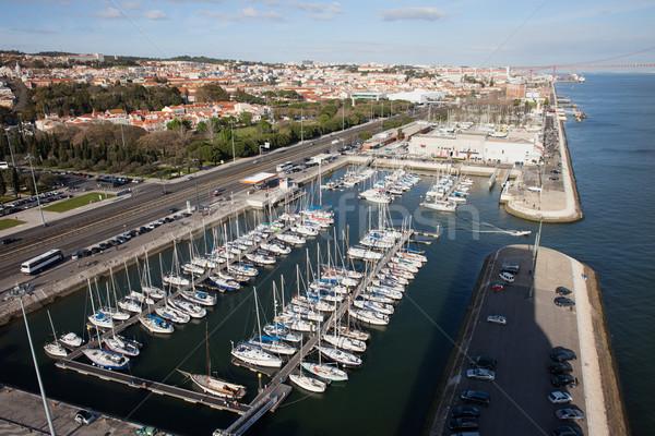 Doca de Belem Marina and Lisbon Cityscape Stock photo © rognar