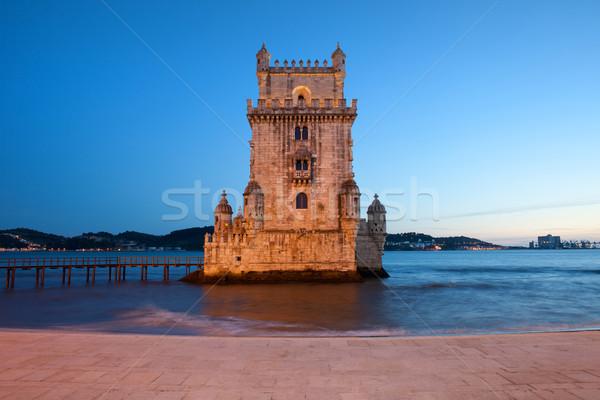 башни Лиссабон ночь Португалия здании реке Сток-фото © rognar