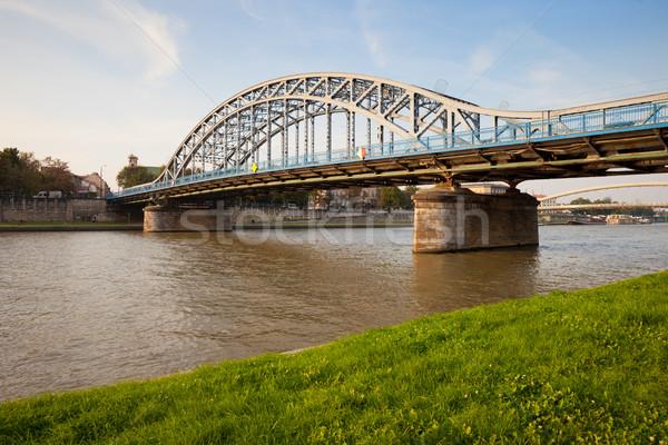 Híd folyó Krakkó Lengyelország város fém Stock fotó © rognar