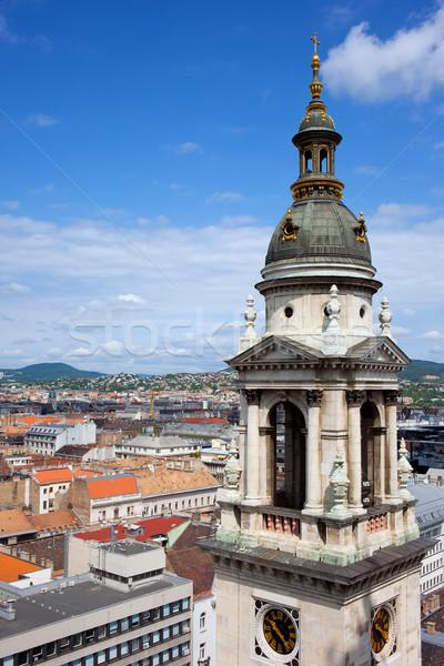 Foto stock: Basílica · sino · torre · Budapeste · cidade · acima