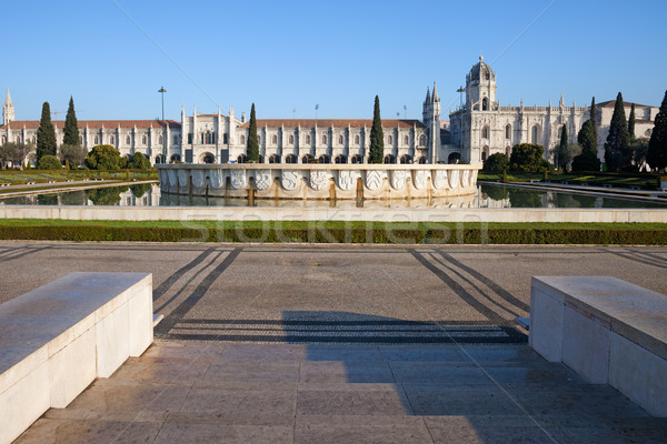 Garden Praca do Imperio and Jeronimos Monastery in Lisbon Stock photo © rognar