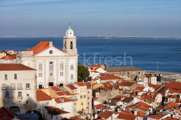 Cidade Lisboa distrito Portugal ver igreja Foto stock © rognar