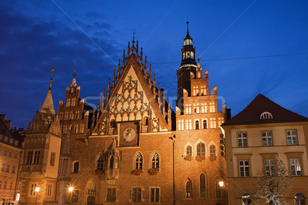 Wroclaw Old Town Hall at Night Stock photo © rognar