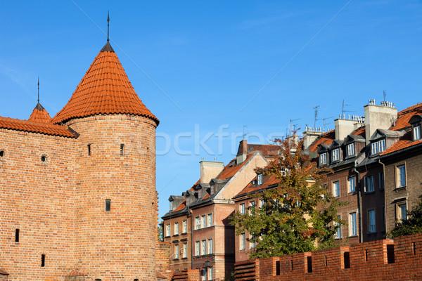 Сток-фото: старый · город · Варшава · укрепление · домах · Польша · город