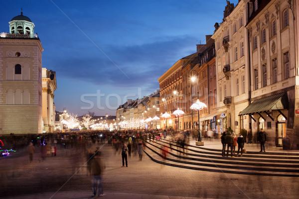 город Варшава Польша ночь исторический домах Сток-фото © rognar