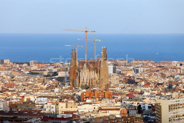 Barcelona Cityscape şehir üzerinde gün batımı deniz Stok fotoğraf © rognar