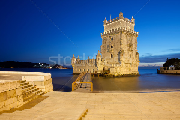 Belem Tower at Night in Lisbon Stock photo © rognar