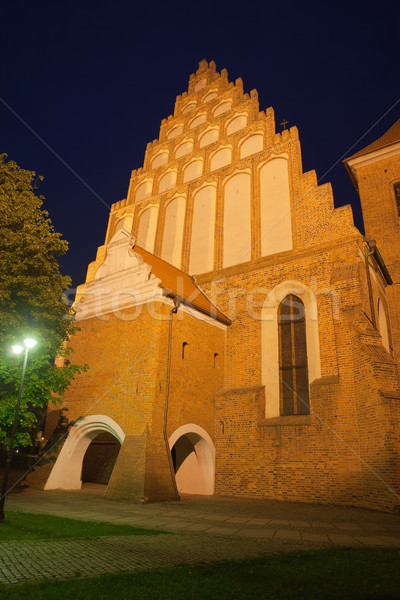 Bydgoszcz Cathedral by Night in Poland Stock photo © rognar