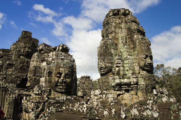 Buddha Carvings in Bayon Temple Stock photo © rognar