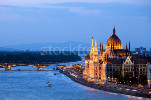 Parliament Building in Budapest at Evening Stock photo © rognar