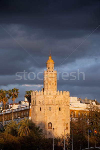 Torre del Oro at Sunset in Seville Stock photo © rognar