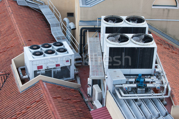 Air Conditioning Systems on a Building Roof Stock photo © rognar