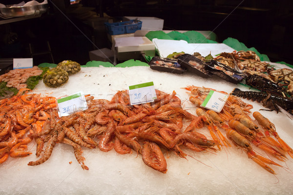 Fresh Prawns on a Seafood Market Stall Stock photo © rognar