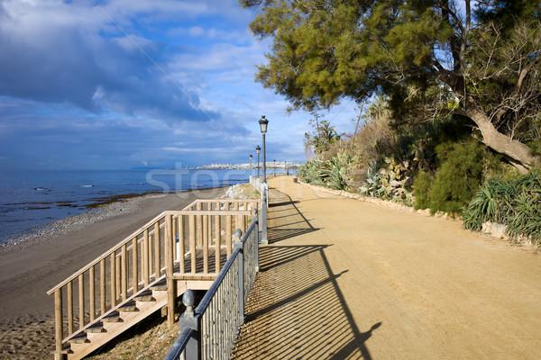 遊歩道 階段 ビーチ 地中海 海 ストックフォト © rognar