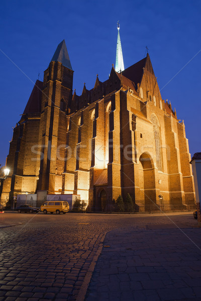 Church of the Holy Cross by Night in Wroclaw Stock photo © rognar