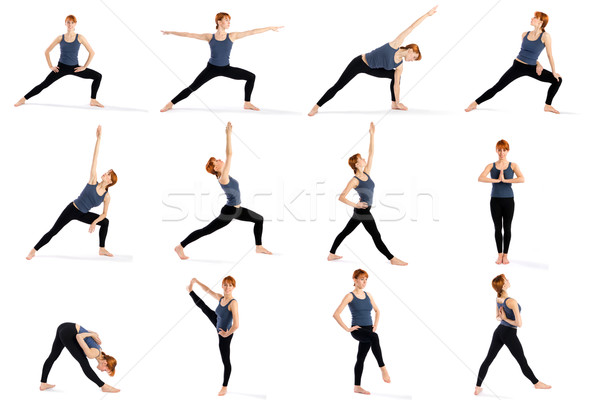 Fitness Woman in Various Standing Yoga Poses Stock photo © rognar