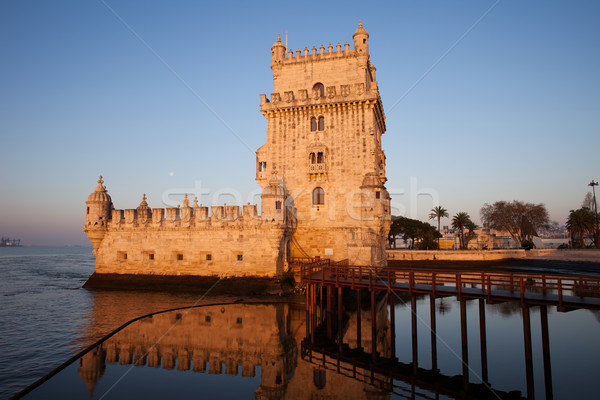 Belem Tower at Sunrise in Lisbon Stock photo © rognar