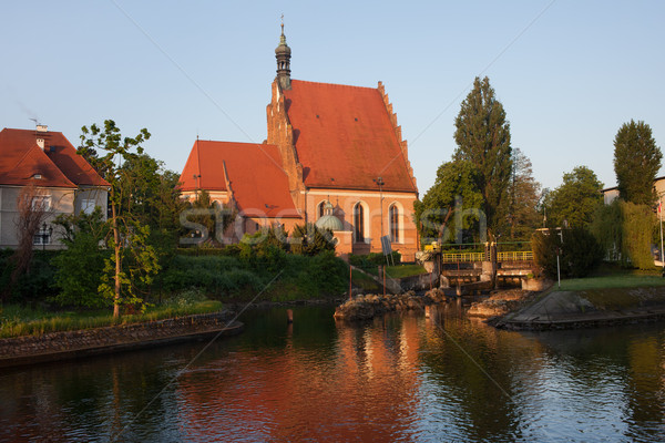 Cathedral and Brda River in Bydgoszcz Stock photo © rognar