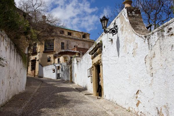Rue vieille ville Espagne murs maison Photo stock © rognar