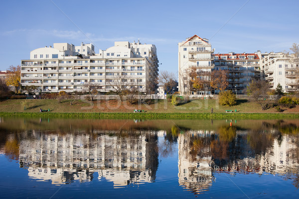 Lakeside Modern Apartment Buildings in Warsaw Stock photo © rognar