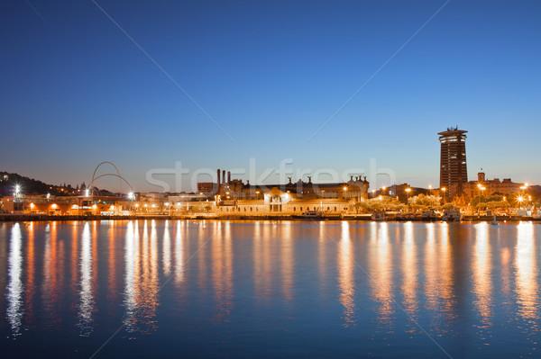 Barcelona Skyline at Night Stock photo © rognar