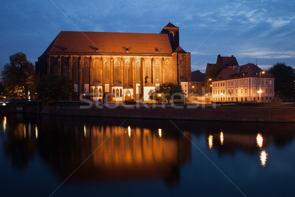 Kerk dame zand nacht stad Polen Stockfoto © rognar