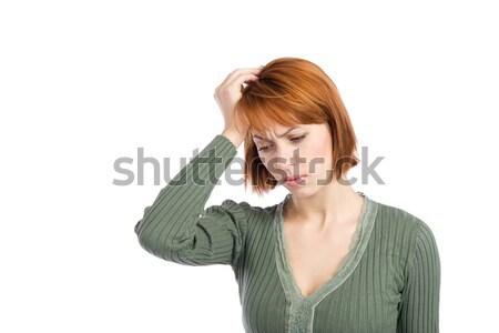 Kobieta migrena głowy strony głowie Zdjęcia stock © rognar